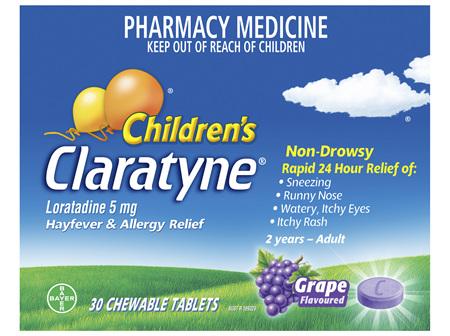 Children's Claratyne Hayfever & Allergy Relief Antihistamine Grape Flavoured Chewable Tablets 30