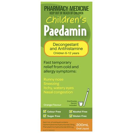Children's Paedamin Decongestant & Antihistamine Oral Liquid Orange Flavour 200mL