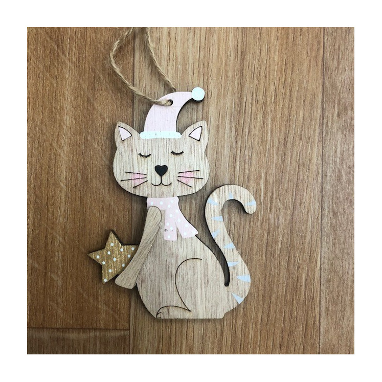 Christmas Cat Hanging Deco with Star