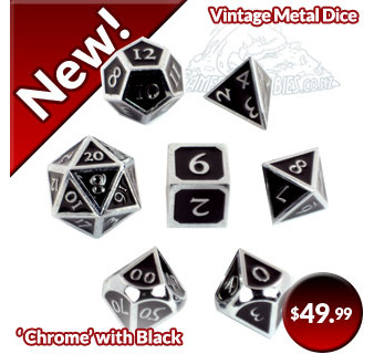 Chrome with Black Vintage Metal Dice