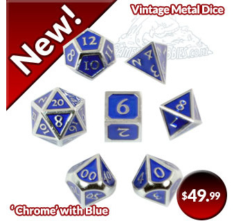 Chrome with Blue Vintage Metal Polyhedral Dice