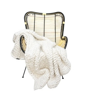 Chunky Knit Throw - White 125x150cm