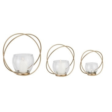 Circular Candle Holder Gold Metal