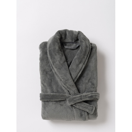 Citta Plain Men's Velour Dressing Gown Gunmetal - L/XL