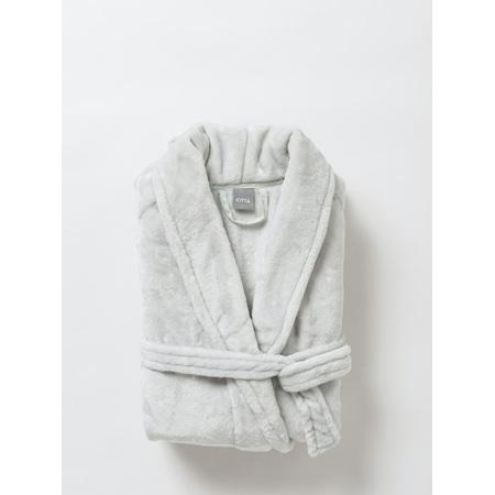 Citta Spot Women's Velour Dressing Gown Dove Tint/White - Small