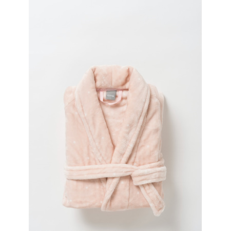 Citta Spot Women's Velour Dressing Gown Peony/White - Small