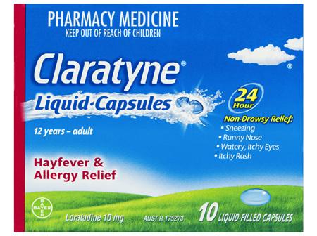 Claratyne Antihistamine Hayfever & Allergy Relief  Liquid Capsules 10 pack