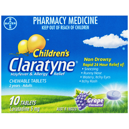 Claratyne Children's Hayfever & Allergy Relief Antihistamine Grape Flavoured Chewable Tablets 10