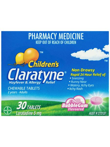 Claratyne Children's Hayfever & Allergy Relief Antihistamine Bubblegum Flavoured Chewable Tablets