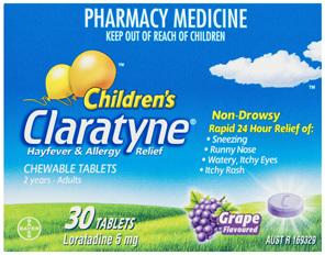 Claratyne Children's Hayfever & Allergy Relief Antihistamine Grape Flavoured Chewable Tablets 30
