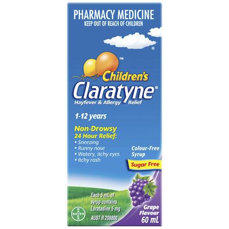 Claratyne Children's Hayfever & Allergy Relief Antihistamine Grape Flavoured Syrup 60ml
