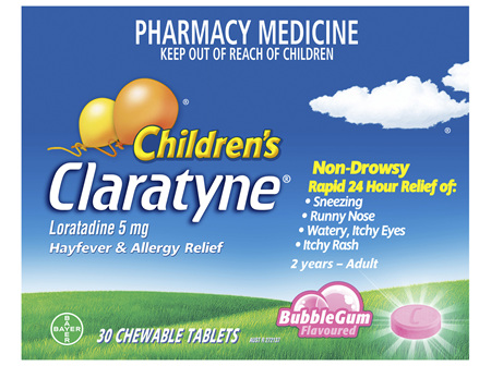 Claratyne Children's Hayfever & Allergy Relief Antihistamine Bubblegum Flavoured Chewable Tablets