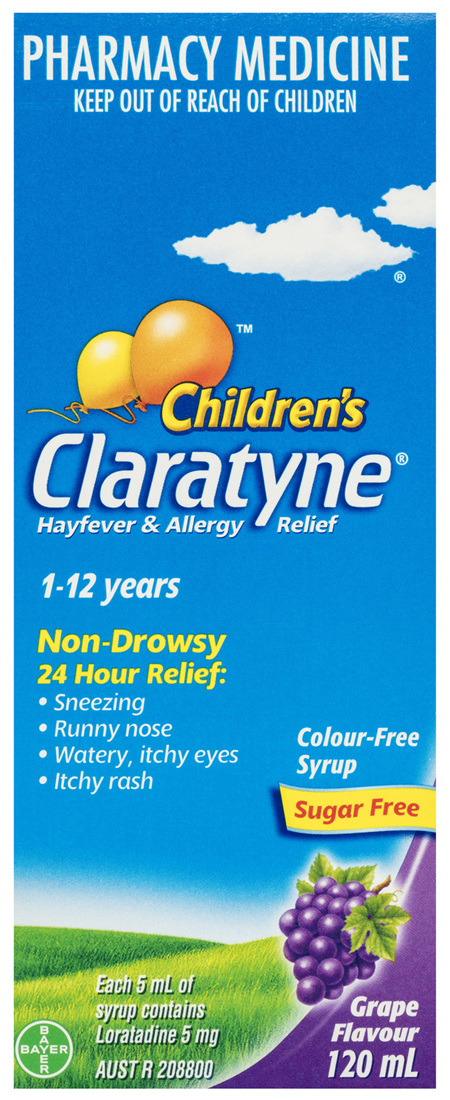 Claratyne Children's Hayfever & Allergy Relief Antihistamine Grape Flavoured Syrup 120ml