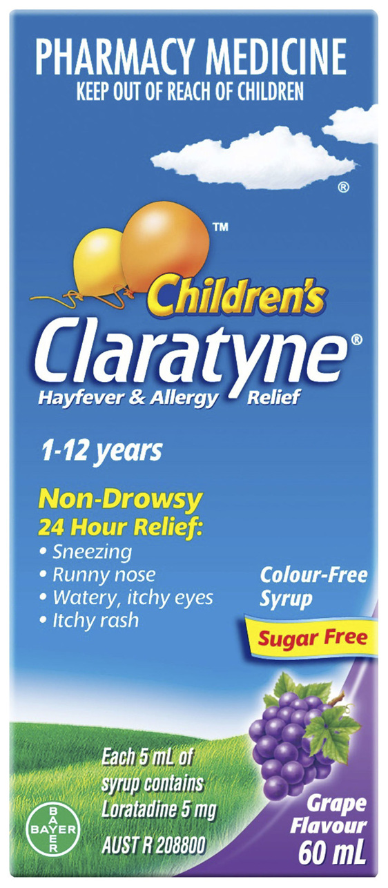 Claratyne Children's Hayfever & Allergy Relief Antihistamine Grape Flavoured Syrup 60ml