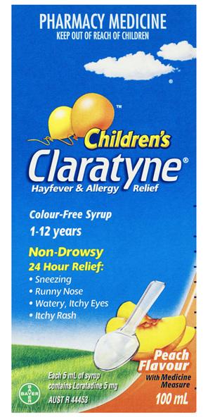 Claratyne Children's Non-Drowsy Syrup Peach 100mL