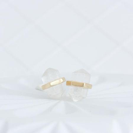 Cloud Nine Gold Crystal Quartz Intention Studs