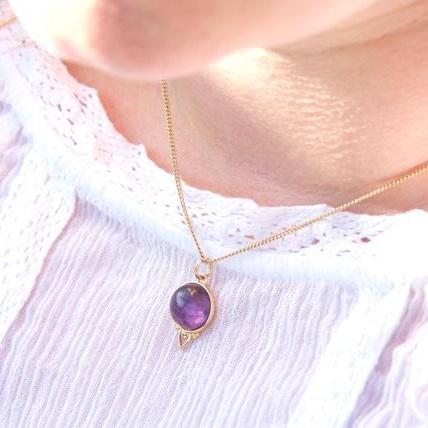 Cloud Nine Gold Healing Gemstone Necklace Amethyst