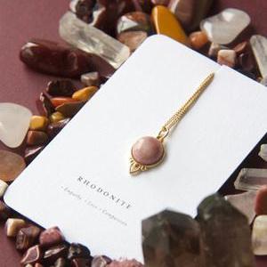 Cloud Nine Gold Healing Gemstone Necklace Rhodonite