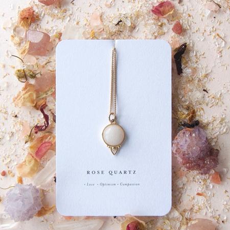 Cloud Nine Gold Healing Gemstone Necklace Rose Quartz