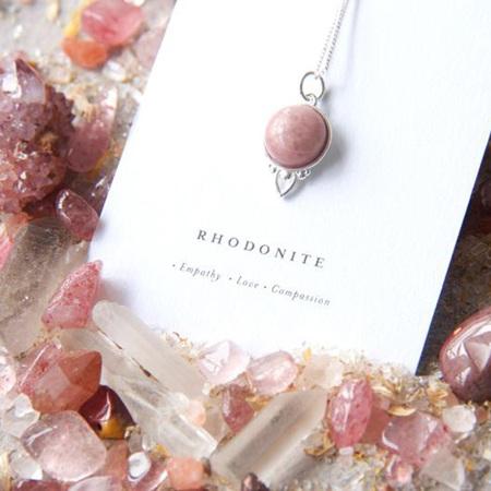 Cloud Nine Silver Healing Gemstone Necklace Rhodonite