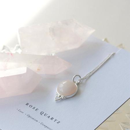 Cloud Nine Silver Healing Gemstone Necklace Rose Quartz