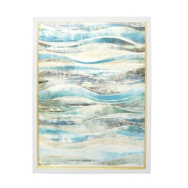 Coastal Waves Framed Glass Print 90x120cm