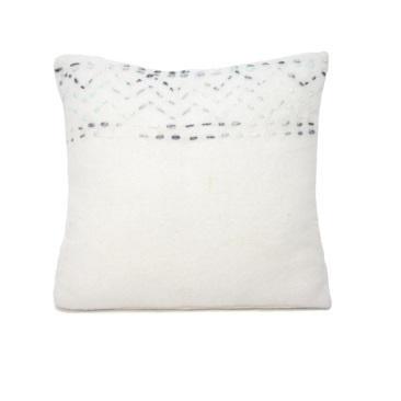 Coastal Wool Cushion - White & Blue 45x45cm