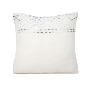 Coastal Wool Cushion - White & Blue 55x55cm