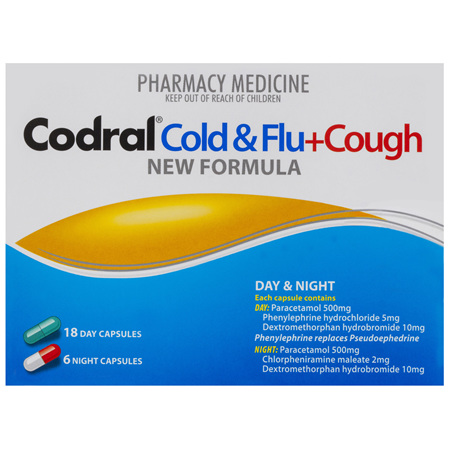 Codral Cold & Flu + Dry Cough Day & Night Capsules 24 Pack