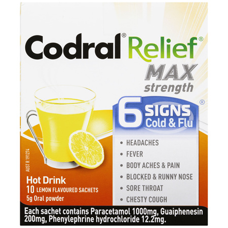 Codral Cold & Flu +Mucus Cough Max Strength Lemon 10 Pack