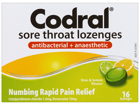 Codral Duo Relief Sore Throat Lozenges Antibacterial + Anaesthetic Lime & Lemon 16 Pack