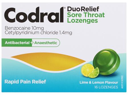Codral Duo Relief Sore Throat Lozenges Antibacterial + Anaesthetic Lime & Lemon 16 Pack