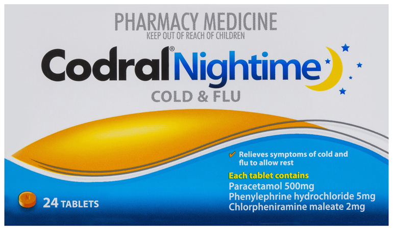 Codral Nightime Cold & Flu 24 Tablets