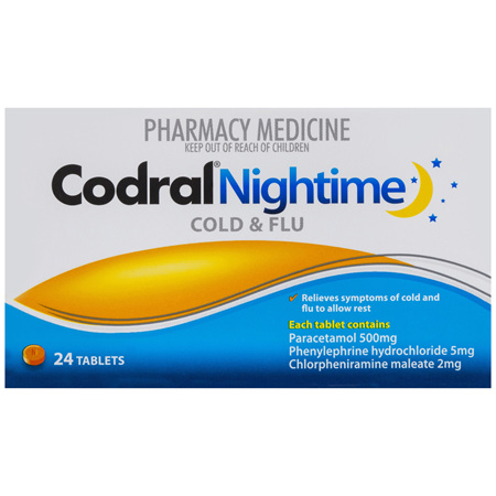 Codral Nightime Cold & Flu Tablets 24 Pack