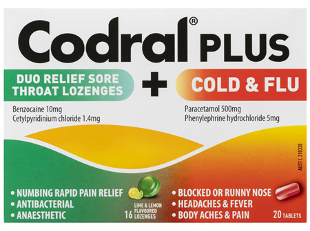 Codral Plus Duo Relief Sore Throat Lozenges Lime & Lemon Flavoured + Cold & Flu