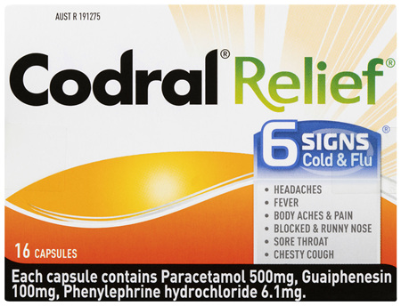 Codral Relief 6 Signs Cold & Flu Capsules 16 Pack