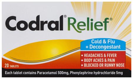 Codral Relief Cold & Flu + Decongestant Tablets 20 Pack