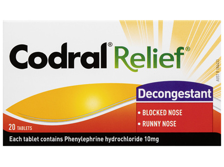 Codral Relief Decongestant Tablets 20 Pack