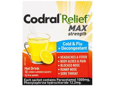 Codral Relief Max Cold & Flu + Decongestant Hot Drink Oral Powder 10 x 5g