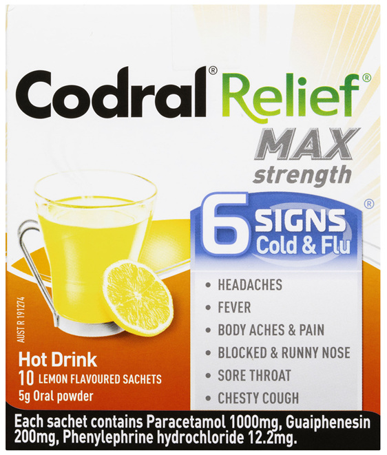 Codral Relief Max Strength Hot Drink Lemon Flavoured Sachets 10 Pack