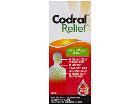 Codral Relief Mucus Cough & Cold Liquid 200mL