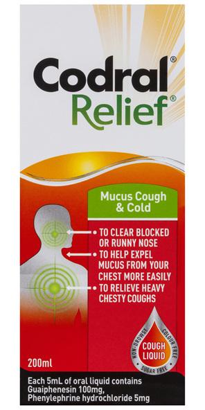 Codral Relief Mucus Cough & Cold Liquid 200mL