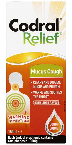 Codral Relief Mucus Cough Liquid Honey Lemon Flavour 150mL