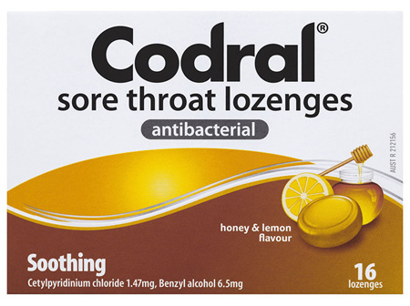 Codral Sore Throat Lozenges Antibacterial 16 Pack
