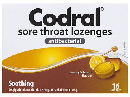 Codral Sore Throat Lozenges Antibacterial 16 Pack