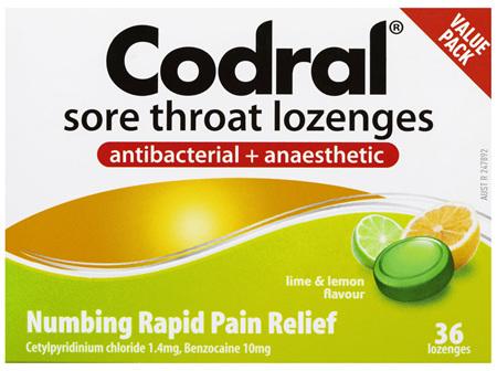 Codral Sore Throat Lozenges Antibacterial + Anaesthetic Lime & Lemon 36 Pack