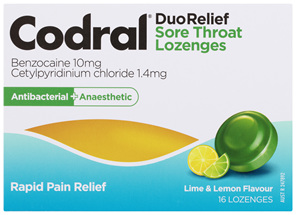Codral Sore Throat Lozenges Antibacterial + Anaesthetic Lime & Lemon 16 Pack