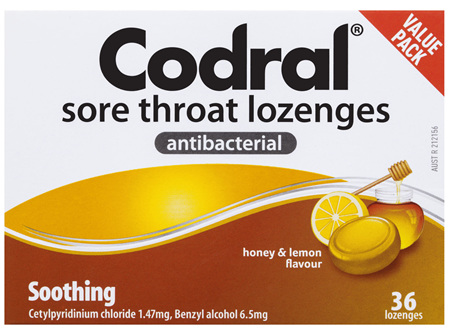 Codral Sore Throat Lozenges Antibacterial Honey & Lemon 36 Pack