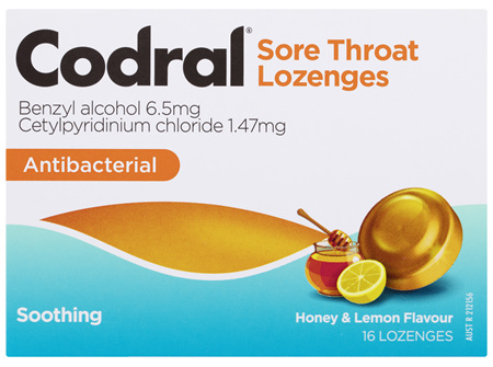 Codral Sore Throat Lozenges Antibacterial Honey & Lemon 16 Pack