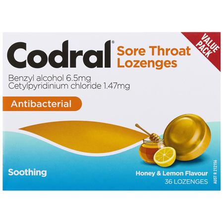 Codral Sore Throat Lozenges Antibacterial Honey & Lemon 36 Pack